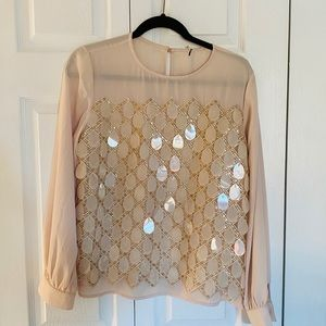 Tops - A fish shell sequins and small sequins top